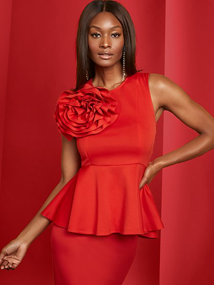 Red Floral Peplum Top - New York & Company