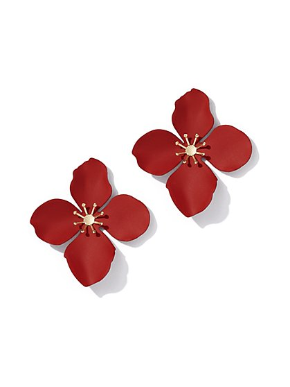 Red Floral Post Earring - New York & Company