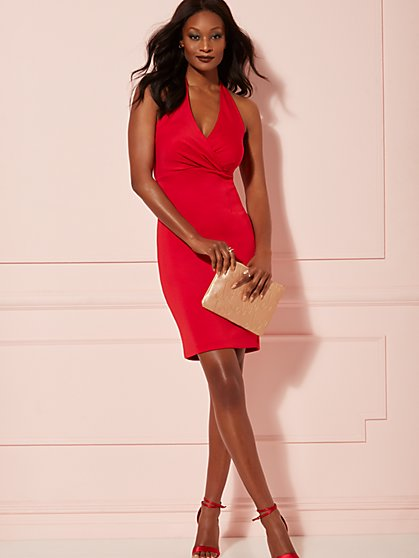 Red Halter Wrap-Front Sheath Dress - New York & Company