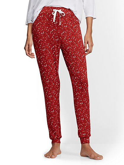 Red Heart-Print Pajama Pant - New York & Company