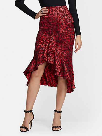 Red Jacquard Ruffled Hi-Lo Skirt - New York & Company