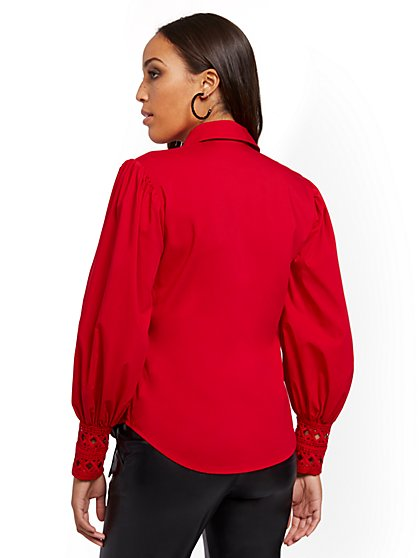 Red Lace-Trim Blouse - 7th Avenue - New York & Company