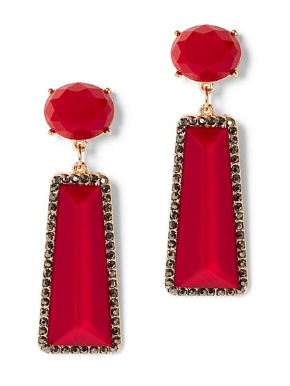 Red Linear Drop Earring - New York & Company