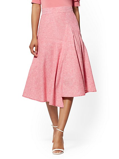 Red Linen Full Skirt - 7th Avenue - New York & Company