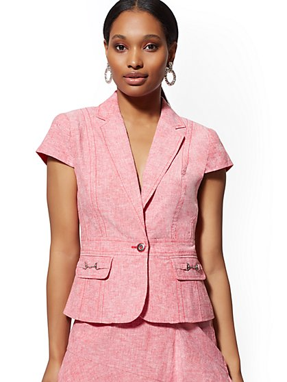 bae0be03e799a Red Linen One-Button Short-Sleeve Jacket - 7th Avenue - New York ...