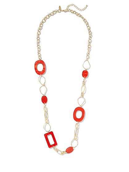 Red Link Statement Necklace - New York & Company