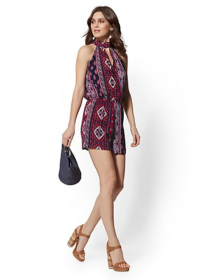 Red Medallion-Print Halter Romper - New York & Company