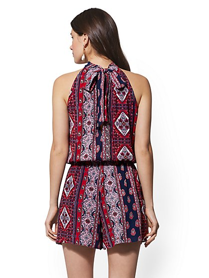 a9cca15fbb53 ... Red Medallion-Print Halter Romper - New York & Company