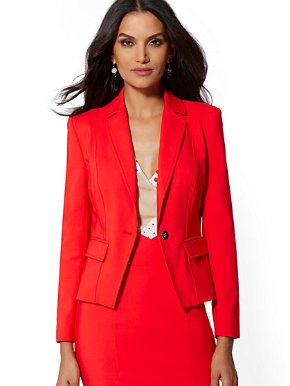 Red One-Button Jacket - All-Season Stretch - 7th Avenue - New York & Company