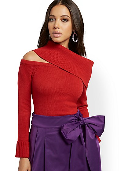Red One-Shoulder Cowl-Neck Sweater - New York & Company