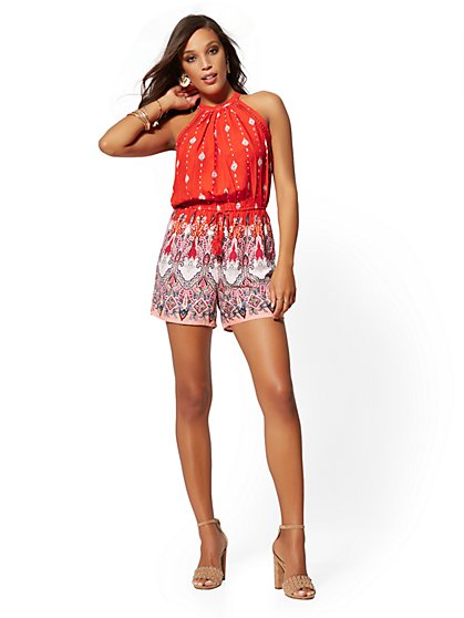Red Paisley Halter Romper - New York & Company