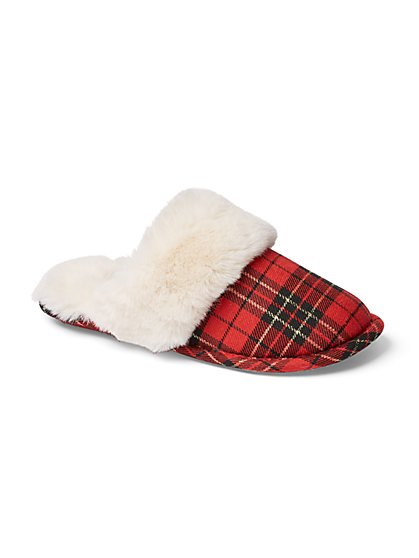 Red Plaid Scuff Slipper - New York & Company