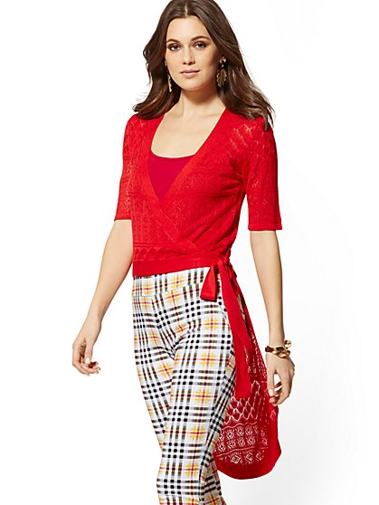 Red Pointelle-Knit Hi-Lo Sweater - 7th Avenue - New York & Company