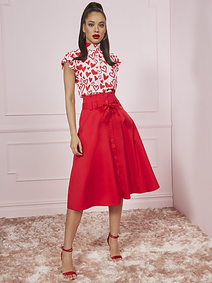 Red Poplin Belted Skirt - 7th Avenue - New York & Company