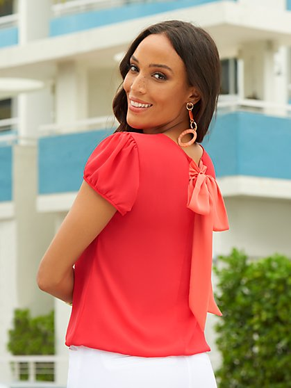 Red Puff-Sleeve Bow-Back Blouse - Sweet Pea - New York & Company