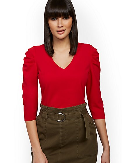 Red Puff-Sleeve Top - New York & Company