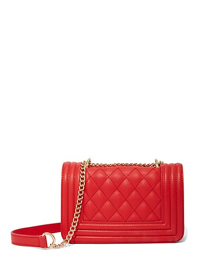 Red Quilted Crossbody Bag - New York & Company