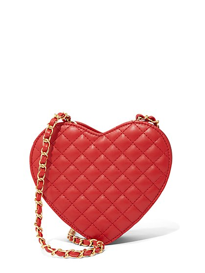 Red Quilted Heart Crossbody Bag - New York & Company