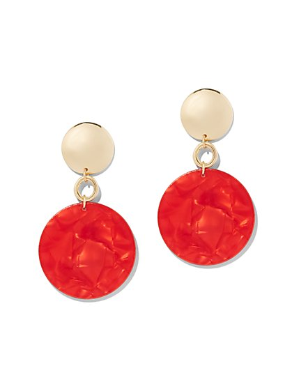 Red Resin Disk Drop Earring - New York & Company
