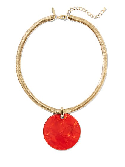 Red Resin Disk Pendant Necklace - New York & Company