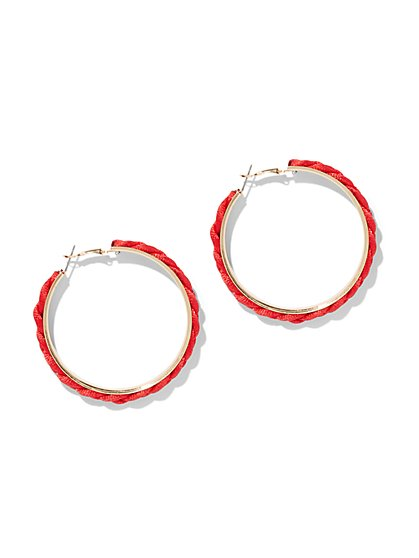 Red Rope Hoop Earring - New York & Company