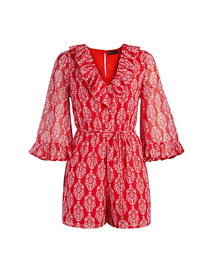 Red Ruffled Romper - New York & Company