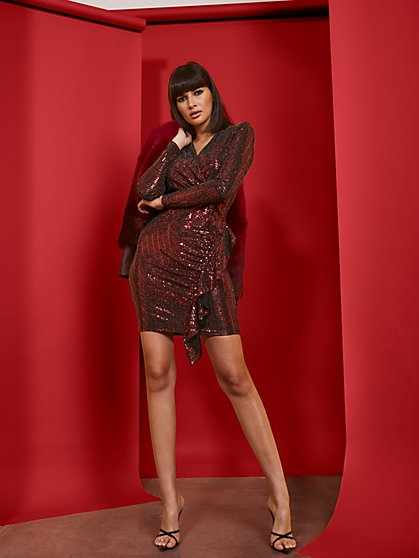 Red Sequin Wrap Sheath Dress - New York & Company