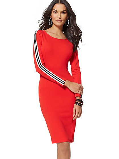 Red Side-Stripe Sheath Dress - New York & Company