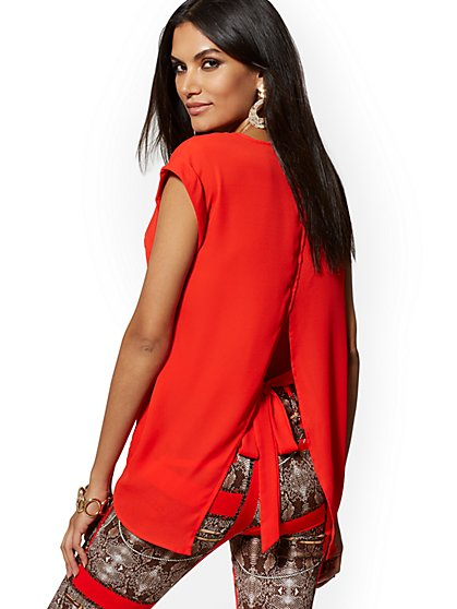 Red Split-Back Blouse - 7th Avenue - New York & Company
