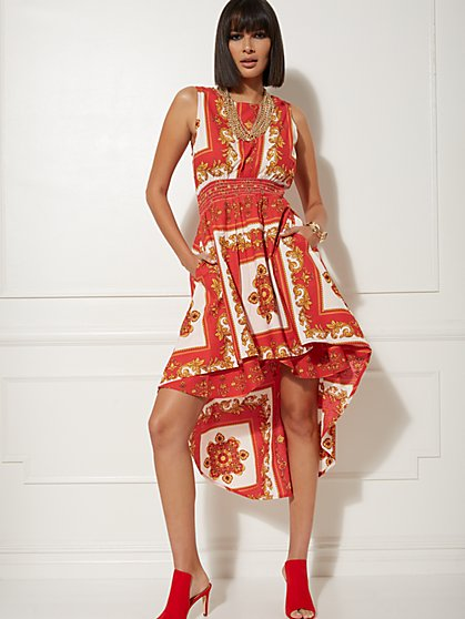 Red Status-Print Hi-Lo Dress - New York & Company