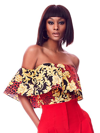 Red Strapless Cold-Shoulder Top - 7th Avenue - New York & Company