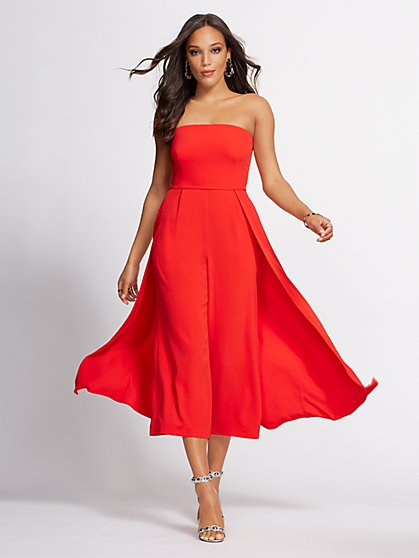 Red Strapless Culotte Jumpsuit - Gabrielle Union Collection - New York & Company