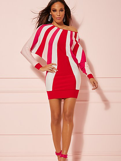 Red Stripe Dolman Sweater Dress - New York & Company