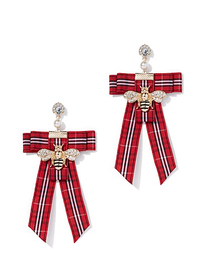 Red Stripe Ribbon Drop Earring - New York & Company
