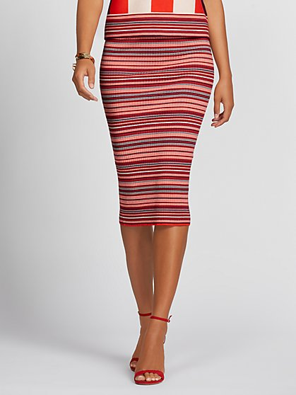 Red Stripe Sweater Skirt - Gabrielle Union Collection - New York & Company