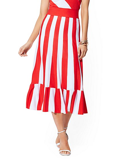 Red Stripe Sweater Skirt - New York & Company