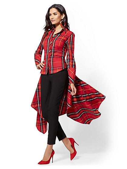 Red Tartan Hi-Lo Handkerchief Hem Shirt - New York & Company