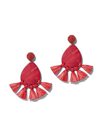 Red Tassel Teardrop Earring - New York & Company