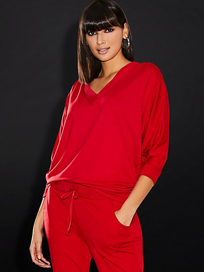 Red V-Neck Top - Sweet Pea - New York & Company