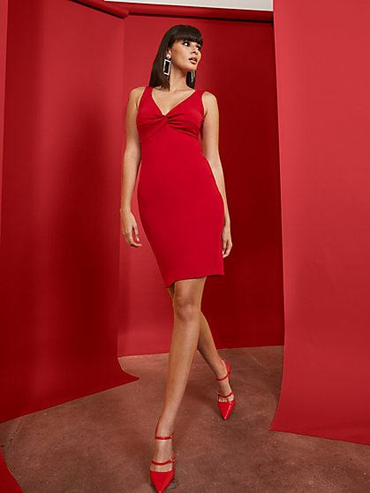 Red V-Neck Twist-Front Sheath Dress - Magic Crepe® - New York & Company