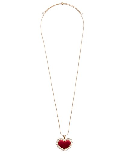 Red Velvet Heart Pendant Necklace - New York & Company