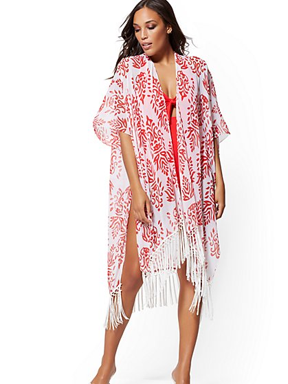 Red & White Fringed Kimono Coverup - NY&C Swimwear - New York & Company