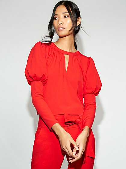 Red Wrap Blouse - Gabrielle Union Collection - New York & Company