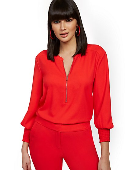 Red Zip-Front Top - 7th Avenue - New York & Company