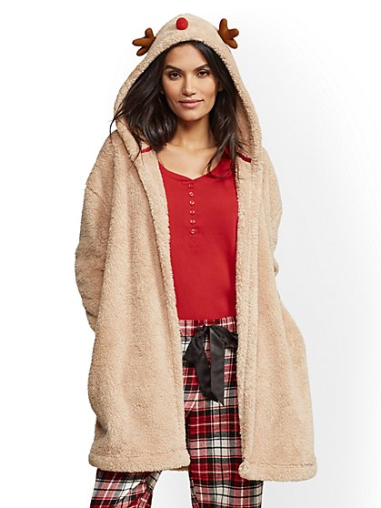 Reindeer Hooded Sherpa Cardigan - New York & Company