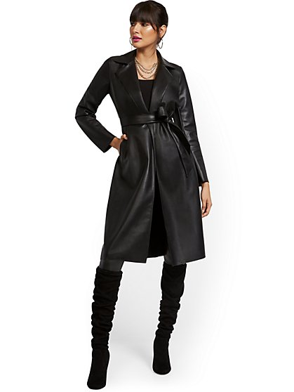 Responsibly-Treated Faux Leather Flyaway Trench - New York & Company