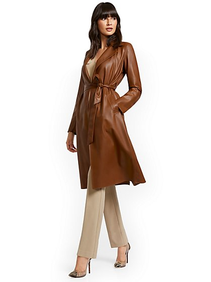 Responsibly-Treated Faux-Leather Flyaway Trenchcoat - New York & Company