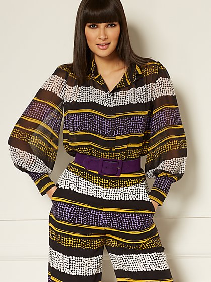 Reva Mixed-Print Blouse - Eva Mendes Collection - New York & Company