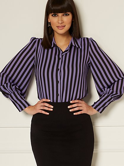 Reva Stripe Blouse - Eva Mendes Collection - New York & Company