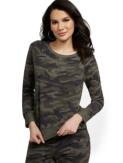 Reversible Camo-Print Lounge Top - New York & Company